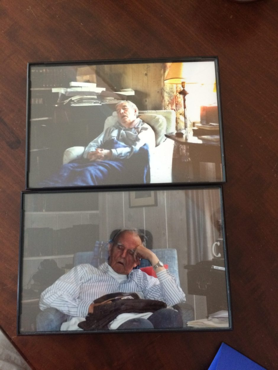 Photos of my dad and grandfather sitting in the same place in the old living room.